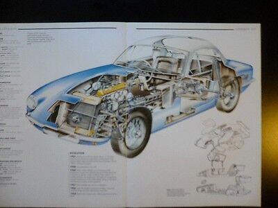 1962 Lotus Elite Series II Car Cut Away POSTER drawing - printed 1988 italy 1961