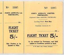 BS4 1934 GB WALES AVIATION *Pines Airways Ltd* 5s Flight Ticket Porthcawl Newton