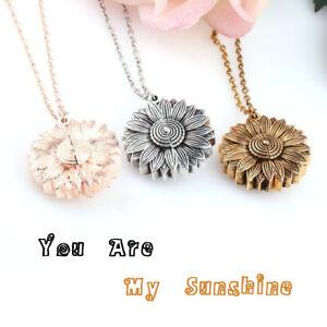 Chain-Fashion-Women-Pendant-Necklace-Open-Locket-You-Are-My-Sunshine-Sunflower