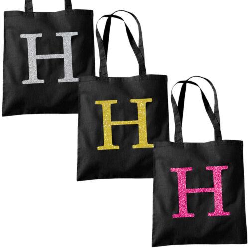 Single Letter GLITTER Printed Black Tote Bag Alphabet A-Z Initial Shopper Bags