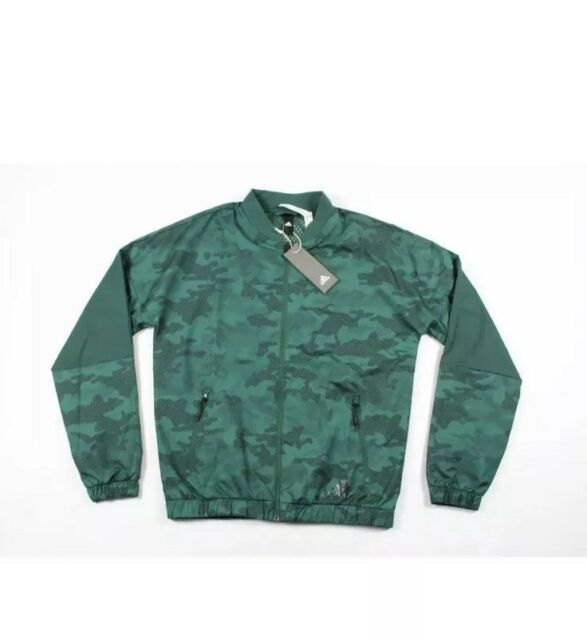09f477132697 New Adidas Mens Small Spell Out Full Zip Camouflage Camo Bomber Jacket  Green Nwt