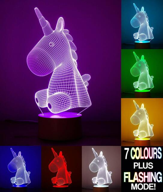 Unicorn 3d Optical Illusion Night Light Withtouch Control Led Table Desk Lamp 7 For Sale Online