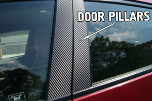Fits Ford F150 04-08 Carbon Fiber B-Pillar Window Trim Covers Post Parts