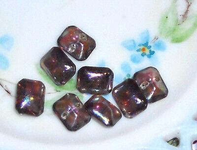 #941 Vintage Glass Buttons Octagon Rainbow Self Shank Iridescent AB Purple