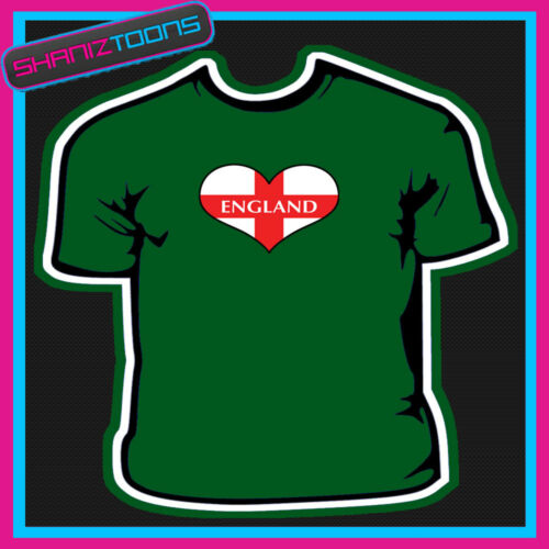 ENGLAND ENGLISH FLAG HEART SHAPED I LOVE T-SHIRT