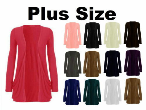 NEW WOMENS LADIES BOYFRIEND OPEN STRETCH CARDIGAN WITH 2 POCKETS PLUS SIZE