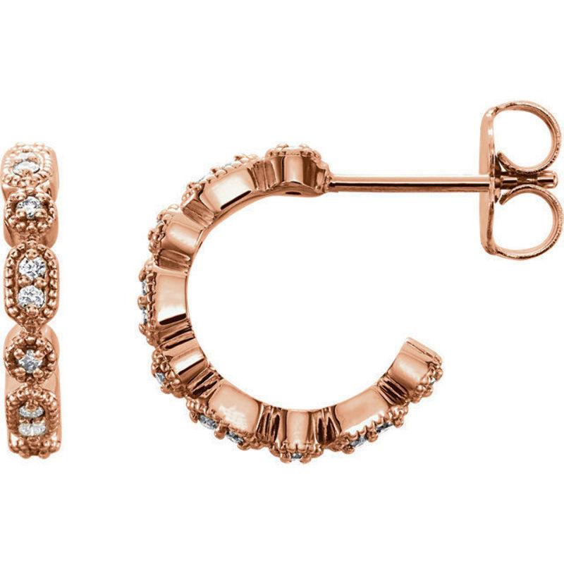 Diamond Granulated J-Hoop Earrings In 14K pink gold (1 8 ct. tw.)