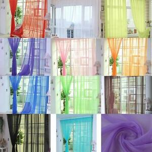 2x-Colorful-Sheer-Curtain-Panel-Window-Balcony-Tulle-Room-Divider-Valances-New-B