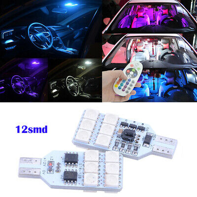Tmtop 2X T10 5050 6 SMD RGB LED Car Dome Reading Light Lamp Bulb with Remote Control