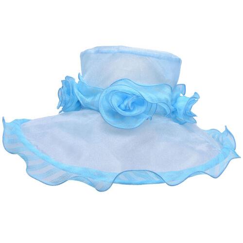 Frauen Kentucky Derby Kirche Hochzeit Organza Wide Brim Kleid Hut A424