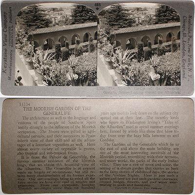 Granada Keystone Stereoview of a Moorish Garden SPAIN From RARE 1200 Card Set