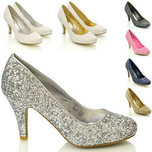 Womens-Bridal-Wedding-Mid-Heel-Ladies-Ivory-White-Silver-Prom-Party-Shoes-Size