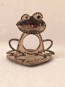 Silver Toned Frog Business Card Holder