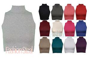 Nuevo-Para-Dama-Sin-Mangas-Liso-Tortuga-Polo-Cuello-Alto-Top-Corto-camiseta