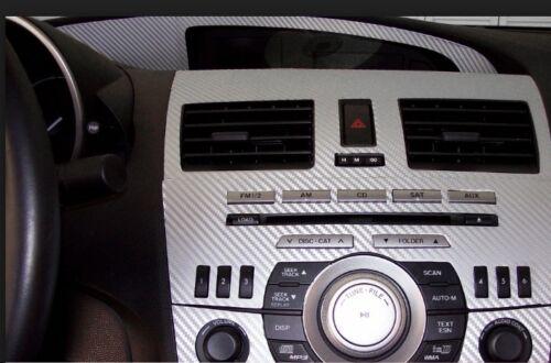 3D SILVER CAR WRAP VINYL CARBON FIBER ROLL SHEET BUBBLE FREE SELF ADHESIVE