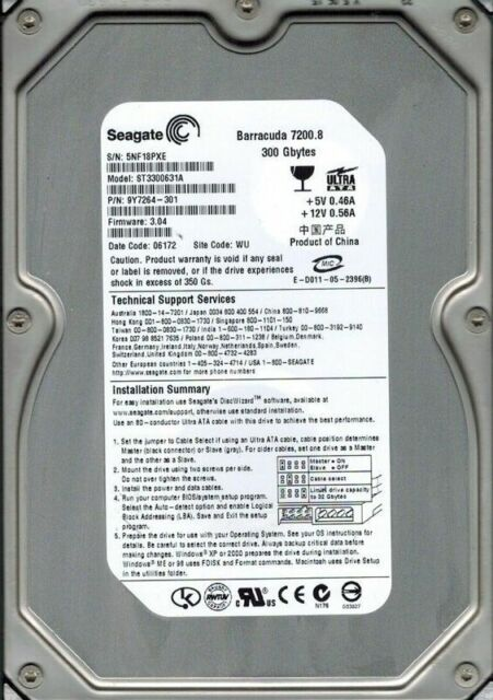 ST3300631A P/N: 9Y7264-301 F/W: 3.04 WU Seagate 300GB