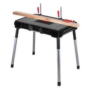 Husky 1 8 ft x 3 ft Portable Jobsite Workbench Table Saw