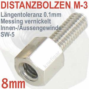 Abstandsbolzen-Messing-vernickelt-Innen-Aussen-M-3-Laenge-8-mm-deutsche-Qualitaet