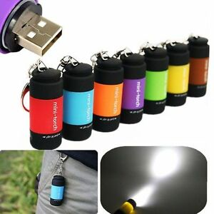 Waterproof-USB-Rechargeable-LED-Flashlight-Lamp-Pocket-Keychain-Mini-Torch-New