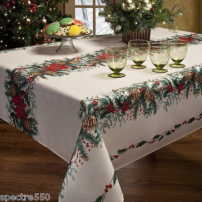 FESTIVE GARLAND Christmas Holly Holiday Tablecloth Pine Cones NIP