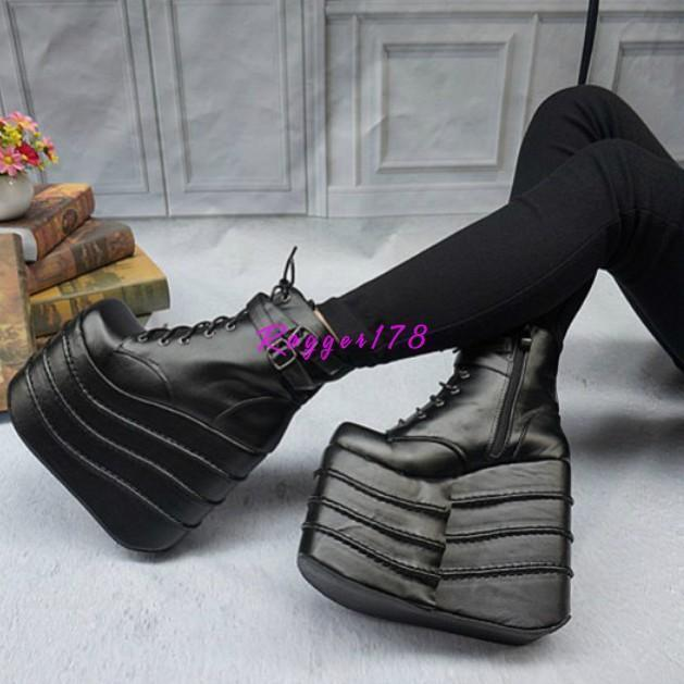 Gothic Womens High Wedge Heels Platform Lace Up Ankle Boots shoes Pumps