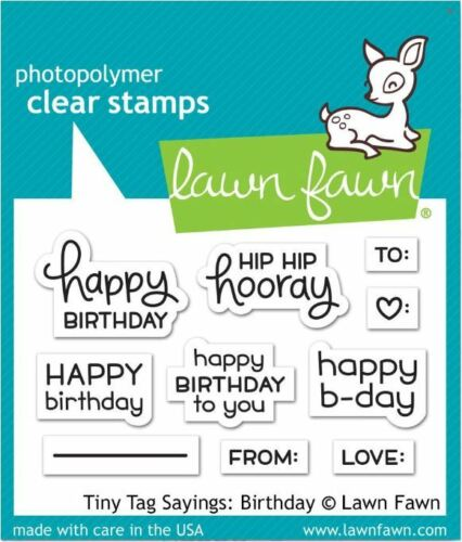 BIRTHDAY  ~LF1421 Lawn Fawn Photopolymer Clear Stamp Set ~ TINY TAGS SAYINGS