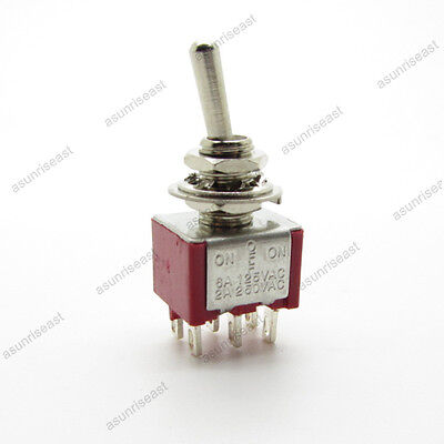 5×Mini Toggle Switch DPDT 3 Position ON-OFF-ON 6-PIN 250V 2A 125V 6A Red MTS-203