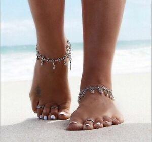 Frank Fußband Fuß Fußkette Fußkettchen Silber Filigran Boho Perle