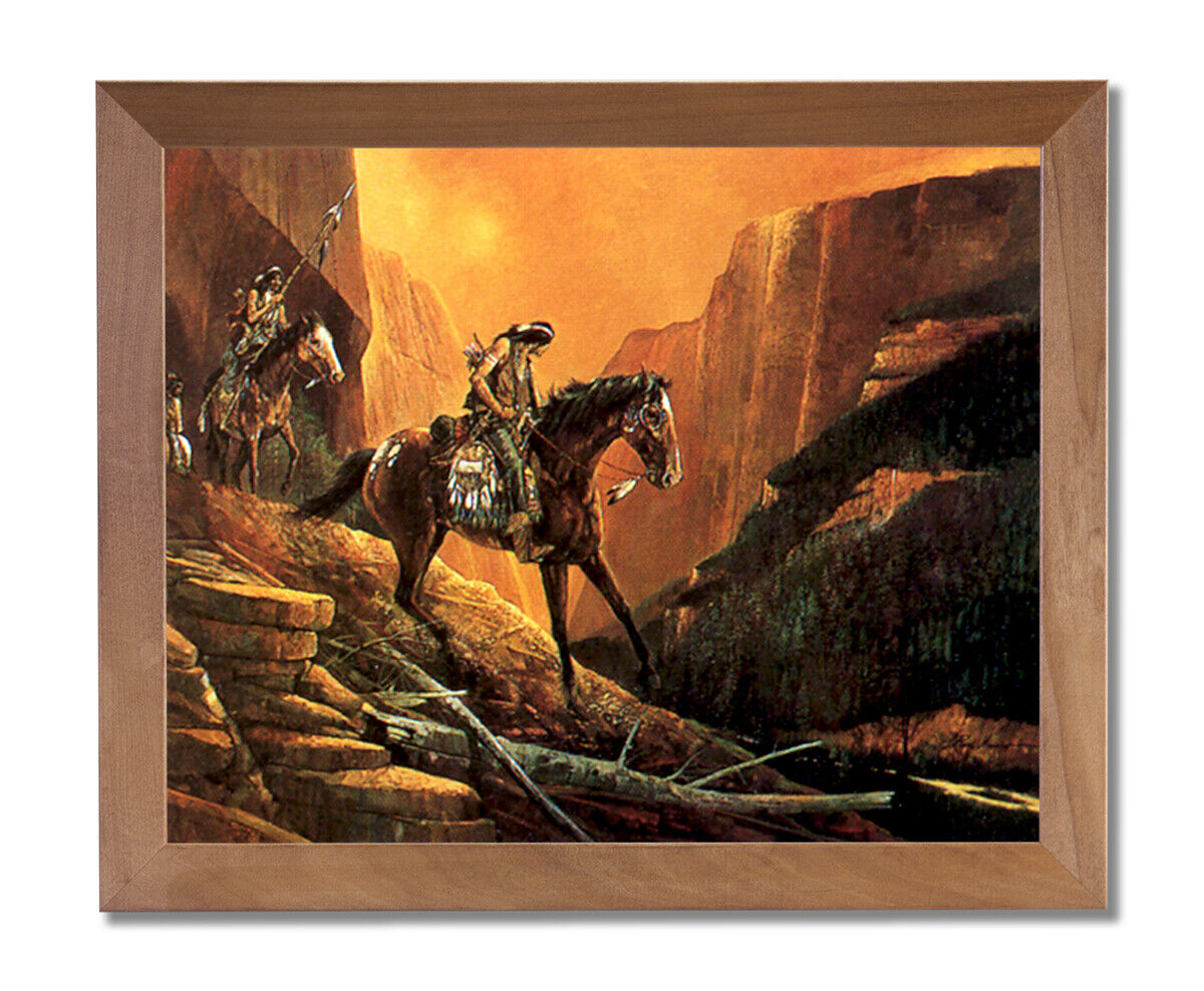 Native American Indian On Horse Animal Wall Picture Honey Framed Art Print