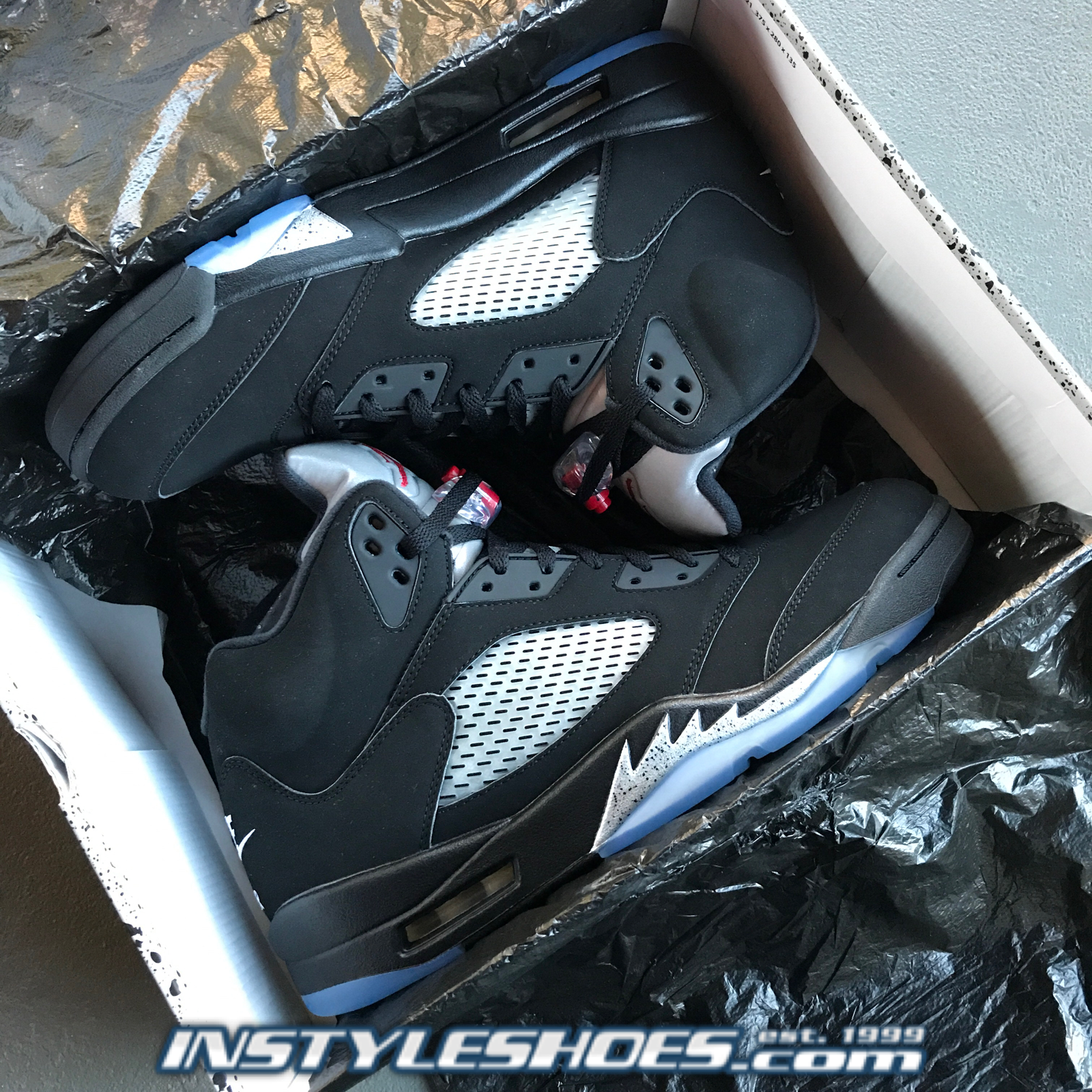 on sale e4653 3b38f ... norway nike air jordan 5 og v retro og 5 schwarz metallic silber 2016  männer 845035