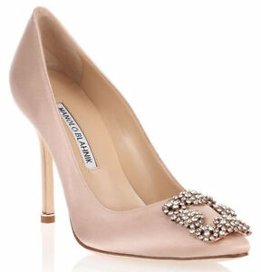4d42081be65b1 $965 NEW MANOLO BLAHNIK HANGISI Nude Flesh Satin JEWELED Pumps SHOES ...