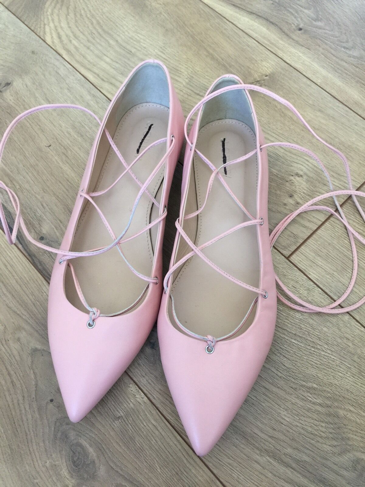 J J J CREW LEATHER LACE UP BALLET FLATS 158 SHOE SZ 9 PAGODA PEACH F0281 b2c49f