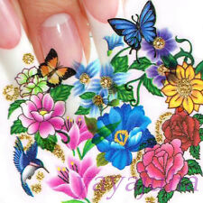 Flower Nail Art Decal Water Slide Transfer Glitter Style Stickers 11 in1 W9