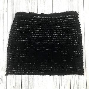 2648ee9b Zara Woman womens XS black fringe sequin textured straight short ...