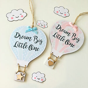 Handmade Personalised Hot Air Balloon Plaque Sign New Baby Nursey