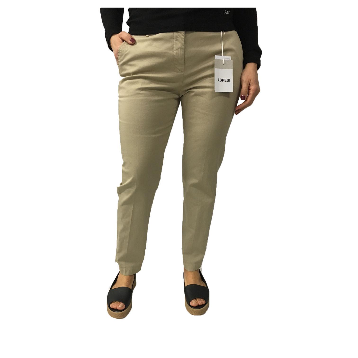 ASPESI Woman Pants Beige h105 Model 98% Cotton 2% Elastane