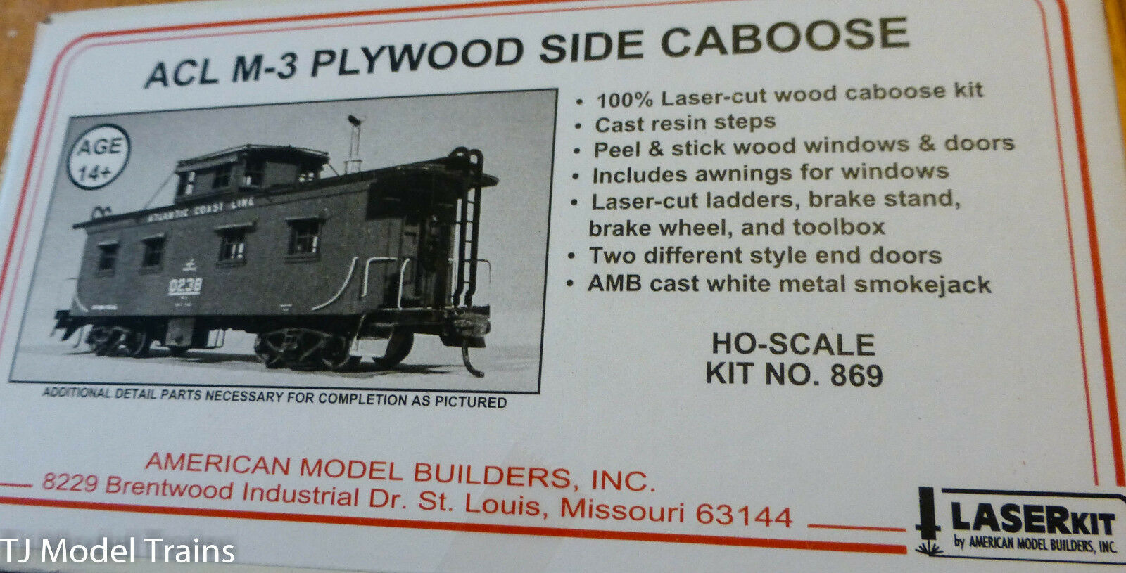 American Model Builders HO Wood Caboose - Atlantic Caost Line M-3 Caboose
