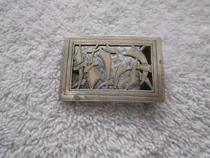 Vintage Sterling Silver Asian Oriental Design Belt Buckle 19.5 Grams