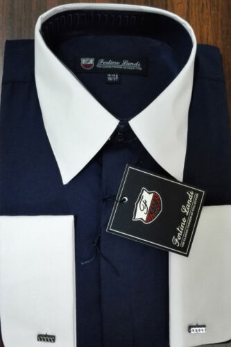 Men/'s Shirt 65/% Polyester 35/%Cotton Two Tone Solid Color French Cuff SG 03F2