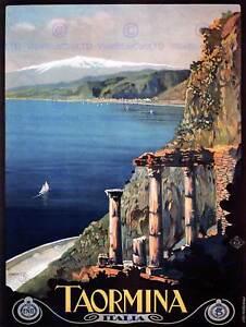 TRAVEL-TAORMINA-SICILY-ETNA-GREEK-THEATRE-ITALY-VINTAGE-POSTER-ART-PRINT-1037PY