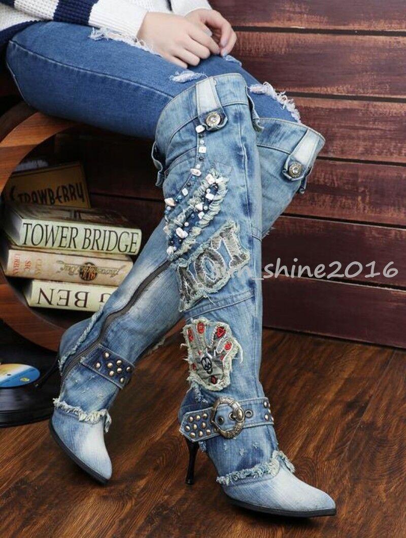 Fashion Women's Denim Rhinestone Zipper Stiletto Heel Pointy Toe Knee High Boots