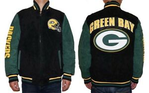a38398b6 Details about NWT Green Bay Packers NFL Men's Zipper Front Suede Jacket
