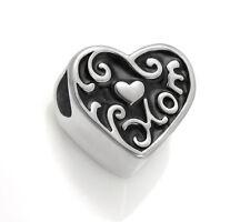 Stainless Steel Love Mom European Bead Heart Charm For European Charm Bracelets
