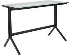 Modern Sleek Design Computer Desk Withclear Tempered Glass Top Amp Black Metal Frame