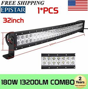 "180W 32""inch Curved LED Light Bar Combo Offroad Driving DRL Work SUV Truck Boat"