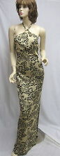 St. John Knit EVENING NWT Black Gold Animal print paillettes DRESS SZ 4 6