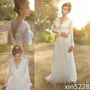 Image Is Loading Sheer New Beach Wedding Dress Chiffon Long Sleeve