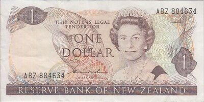NEW ZEALAND BANKNOTE P169a 1 DOLLAR SIG HARDIE USA SELLER VERY FINE