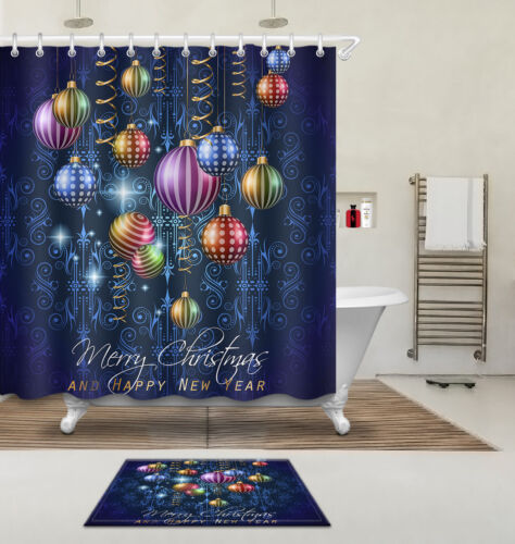Merry Christmas Shower Curtain Liner Polyester Fabric Bathroom Accessories Hooks