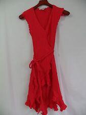 Diane Von Furstenberg Red CHRISSY Wrap Dress Women's 6 Silk Crinkle Ribbed
